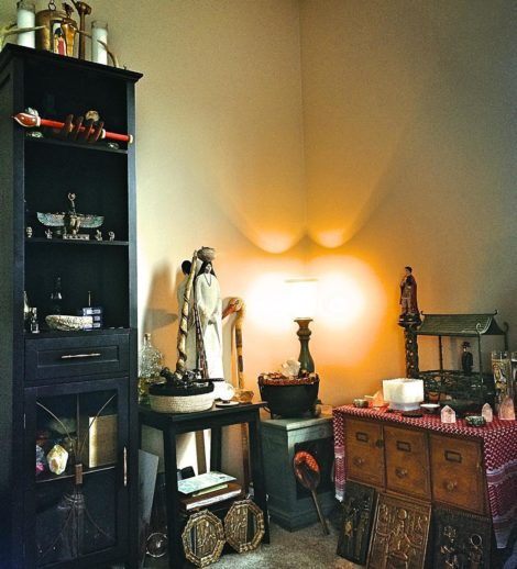 Frater Ipafs ritual room with view on the altar and cerimonial magical accessories