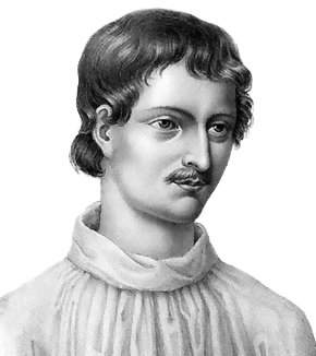 "Giordano Bruno - Modern copy of the portrait from ""Livre du recteur"""