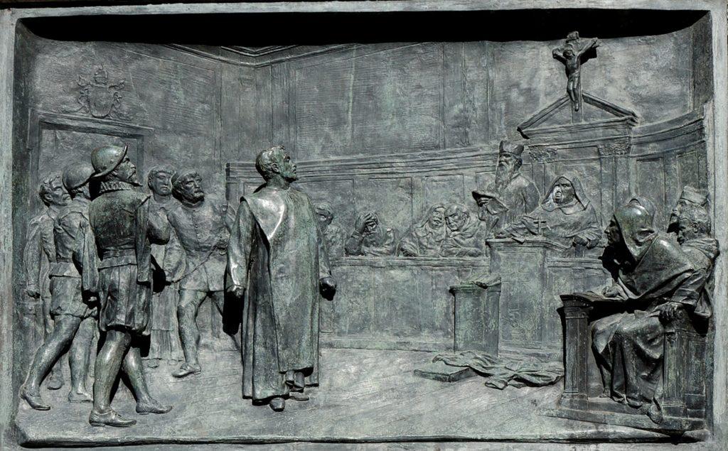 "Relief on the ""campo dei fiori"" in Rome in remembrance of Giordano Bruno's trial by the inquisition"