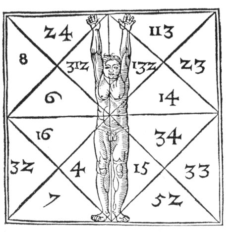 The proportions of the body of man and numerological relations after Agrippa von Nettesheim