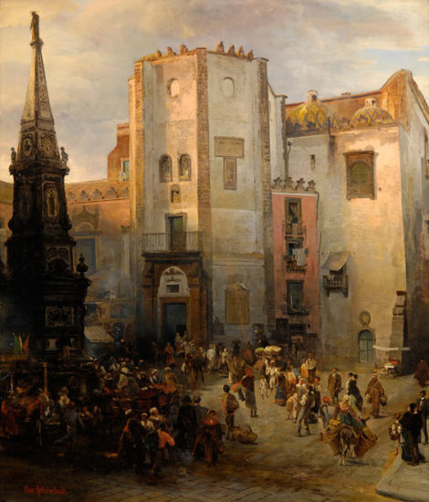"Painting by Oswald Achenbach: Vivid Life on Square San Domenico Maggiore - orognal, German: ""Piazza San Domenico Maggiore in Neapel mit regem Treiben"""