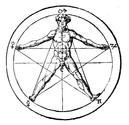 Pentagram - the seven planets and Man - Gravur after Agrippa von Nettesheim