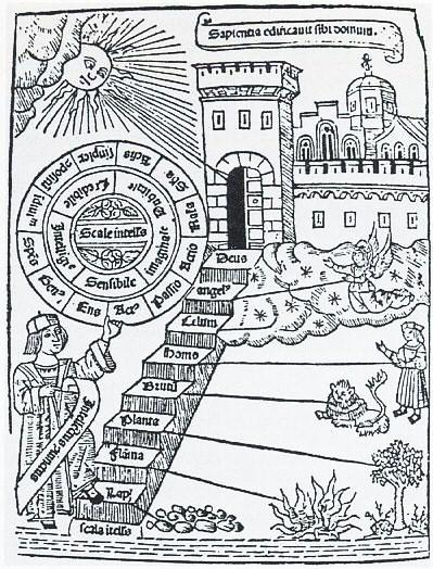 Scala Naturae as depicted by Raimundus Lullus (Ramon Lull)