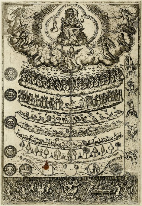 The great chain of being as printed 1579 in Rhetorica christiana by Franciscan missionary Didacus Valades (Diego de Valadés). As opposed to Ramon Llully's version the scale appears as a chain of a god-given order.