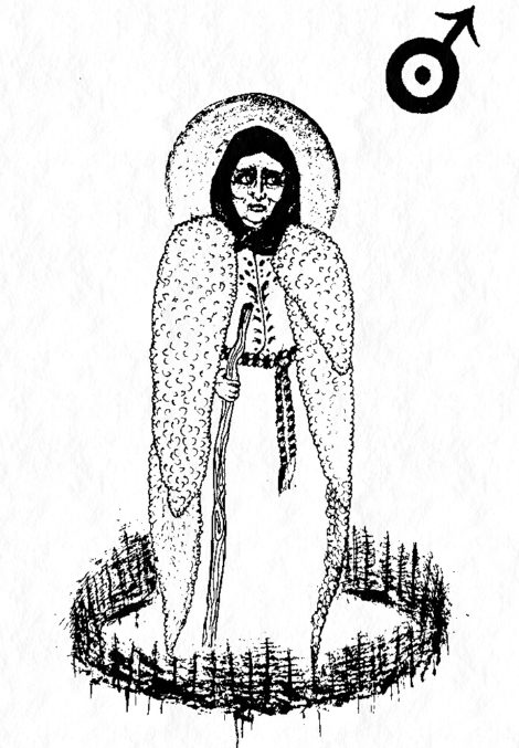 Baba Dochia with Martisor and Mars Symbol - Black White Drawing by Crowhag - Radiana Pit