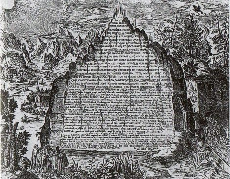 Image from 1606 showing a fictive version of the Emerald Tablet (Heinrich Khunrath,)