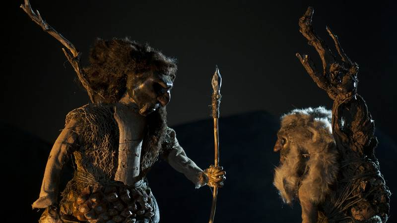 Prehistoric shaman in film scene from Israeli Animation film - Above and Below