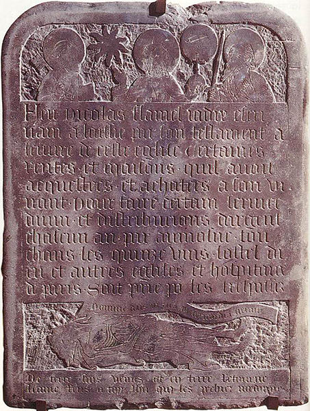 Gravestone of alchemist Nicolas Flamel