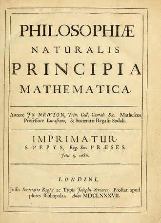 The title page of the »Principia«, first edition (1686/1687) by Sir Isaac Newton