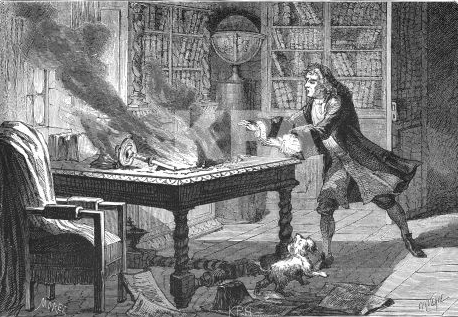 Engraving from France, 1874 showing Newton's laboratory on fire and burning his documents. Sir Isaac Newton tries to save the papers, while dog Diamond is also in the picture.