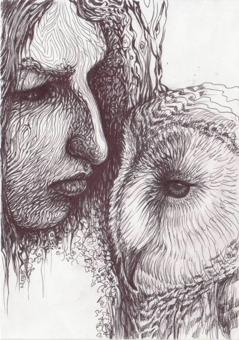 close up of female portrait and owl - black and white drawing