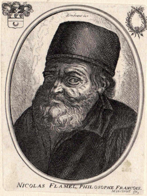 Portrait of Nicolas Flamel - The French scribe who gained a world famous reputation as alchemist