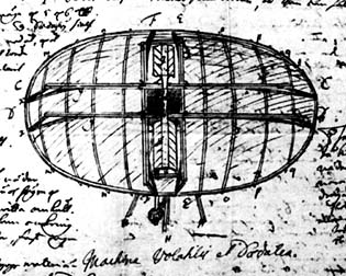 Sketch of Swedenborg's Flying Machine from his notebook. He first sketched the Flying Machine when he was just 26 years old and later published it in his Daedalus Hyperboreus in 1716