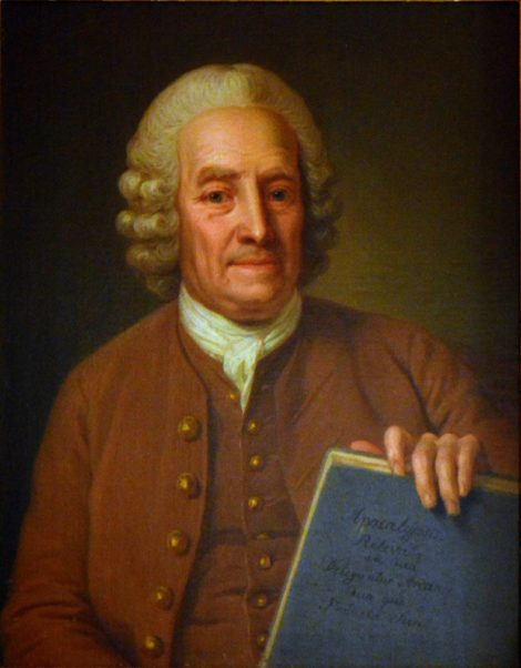 Emanuel Swedenborg with the manuscript of »Apocalypsis Revelata«. (»The Apocalypse Revealed«). Painting by Per Krafft the Elder, about 19766.