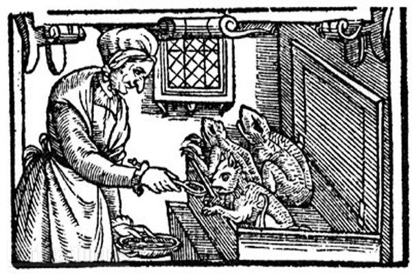 Witch feeding her familiars - 1579, illustration appeared during the Witch trials period