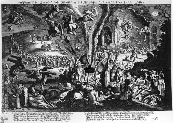 Engraving from the 17th century by Michael Herr, depicting the events on the Blocksberg on Walpurgisnacht, accompanied by verse from the German poet Johann Klaj, warning against belief in witchcraft.