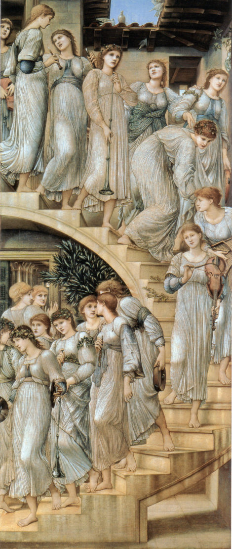"""The Golden Stairs"" from 1880, one of the best-known paintings by the Pre-Raphaelite artist Edward Burne-Jones. The painting features Florence Farr and her friend, May Morris, alongside other of Burne-Jones' favorite models at the time, such as his daughter, Margaret. The painting depicts the women as dreaming musicians, a role Florence will get closer to in her acting career."