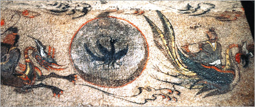 Mural from the Korean Goguryeo period of the Three-Legged Crow flanked by a dragon and a phoenix, also known as Samjok-o in Korea