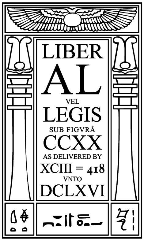 Cover page of the liber al vel legis - black white