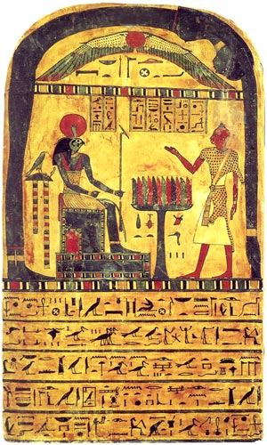 "The original of the Stele of the Revelation, today numbered Cairo A 9422. At Crowley;s time numbered Bulaq 666. It shows the stele owner Ankh-ef-en-Khonsu before Ra-Horakhty (""Ra, who is Horus of the Two Horizons""), the winged sun, Hadit (or Egyptian: Behedeti) and Nuit. Color."