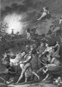 Engraving from 1829 by W. Jury, depicting the Walpurgis Night Scene from Goethe's Faust.