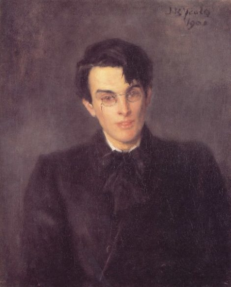 Painting portraying the young William Butler Yeats in 1900. Portrait by artist and painter John Butler Yeats - Williams father.