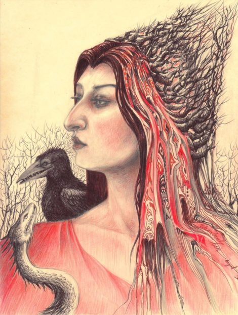 Crowhag with Crow and Dragon - portrait by Elena Cercel.
