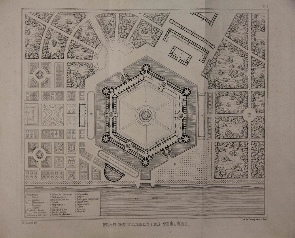 Floor plan for »Abbey of Theleme« by Charles Lenormant in 1840.