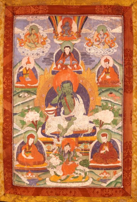 Tangka with Tibetean Yogi Milarepa - Green Body