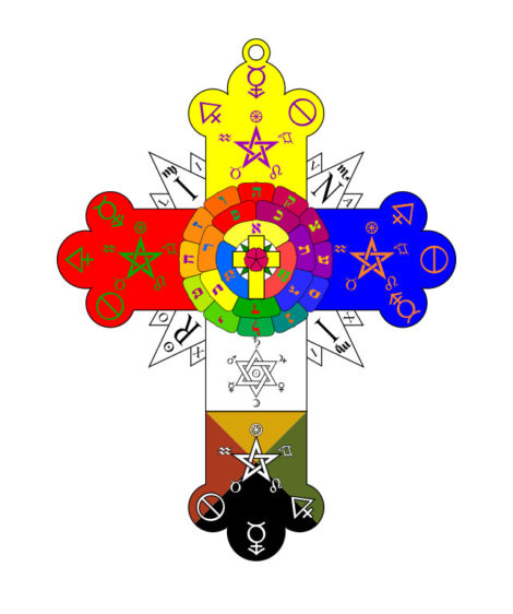 Golden Dawn symbol: The Rosy Cross Lamen used and worn by the magicians of the Rosae Rubae et Aureae Crucis, the inner (second) order of the Hermetic Order of the Golden Dawn.
