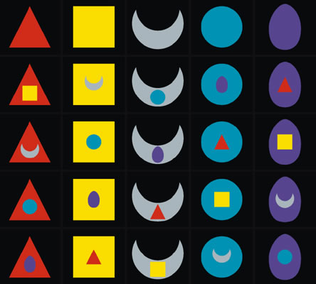 The 25 Tattwas or Tattvas in color on black ground. First line represents Tejas (red - fire element) and its five aspects, followed by Prithivi (yellow - earth element), Apas (silver - water element) and Vaju (blue - air element). Finally Akasha (usually black or violett - aether).