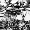 """""""Witches near Treves"""", engraving from about 1600. Witch riding on her broom in the sky."""