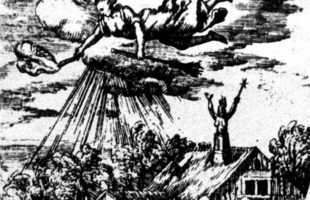 """Witches near Treves"", engraving from about 1600. Witch riding on her broom in the sky."