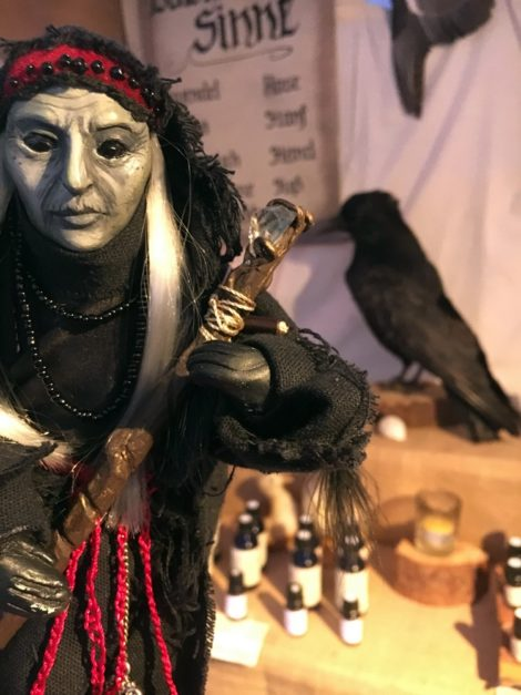 Witch Nettle with Raven and essential oils in her shop - Witchdoll Nettle , the symbol of Nettles Garden