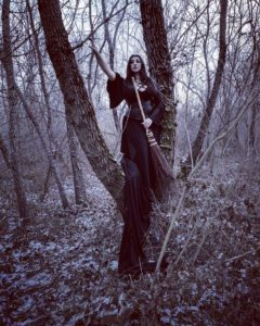 Every part of the magical besom is potent in spellwork. While the entire besom is used for energy sweeping and cleansing, the bristles can be used as spellwork ingredients too, especially for protective and tracking spells. Photo of Radiana Piț and her magical besom by Vlad Tudor. Instagram: @crowhag