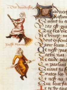 "Hexenflug of the ""Vaudoises"" from a manuscript titled ""Ladies' Champion"" from 1451, by Martin Le Franc. This is believed to be the first such illustration of women flying on a besom, respectively a stick. According to this illustration, the only difference between a mere woman and a witch is the ability to fly on a besom, which is unlike most manuscripts of the time which depicted witches as deformed creatures."