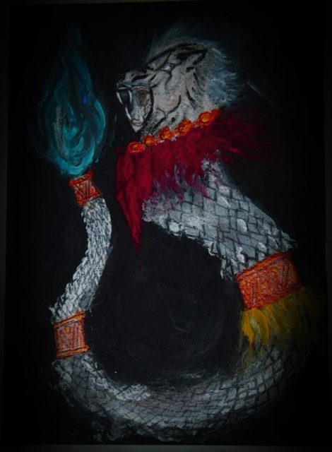 Artwork by Radiana Piț of the Dacian Wolf, Draco.