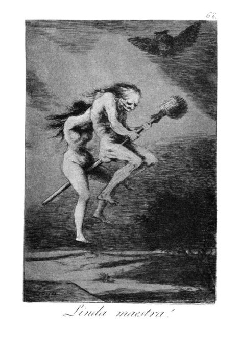 """Los Caprichos"" print by Francisco Goya from 1799. As depicted here, the broom is most constantly thought of as a magical vehicle that carries the witch or the wizard to the sabbath or to a metaphysical world."