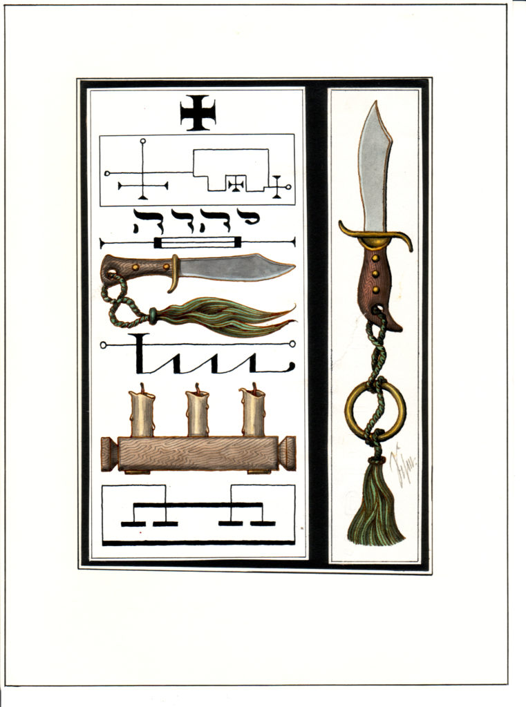 Drawings by JHW eldermans showing tools for ceremonial magic
