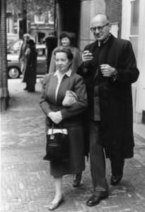 JHW Eldermans. or with full name: Johannes Hendrik Willem Eldermans in 1955 with his wife. Black / white Photograph.