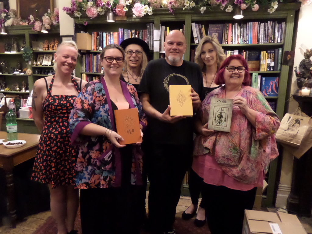 "Wilmar Taal at the launch party for his book ""The silent Listener"" in London 2018. With his wiffe (left) Jane Cox and Gemma Gary from Troy Books and Geraldine Beskine and Bali Beskine from the Atlantis Book shop"