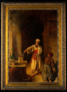 Painting of Razhes, the Alchemist in his Laboratory in Bagdad, by Earnest Board