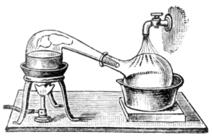 Alchemical distillation using a retort. The retort is an advancement of the alembic: a medieval device consisting of two glass vessels connected by a tube. The retort already contains the tube which connects to the destillation flag. .