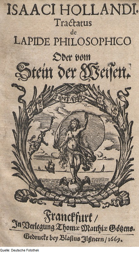 Cover page of (Johnann) Isaac Holandus treatise on the philosopher's stone. Woodcut on paper, Frankfurt, 1669.