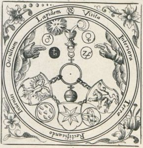 Alchemical Motto VITRIOL in the Viridarium chymicum (Chymisches Lustgärtlein) from 1624 by Stolz von Stolzenberg. VITRIOL being short for »Visita interiora terrae, rectificando invenies occultum lapidem«