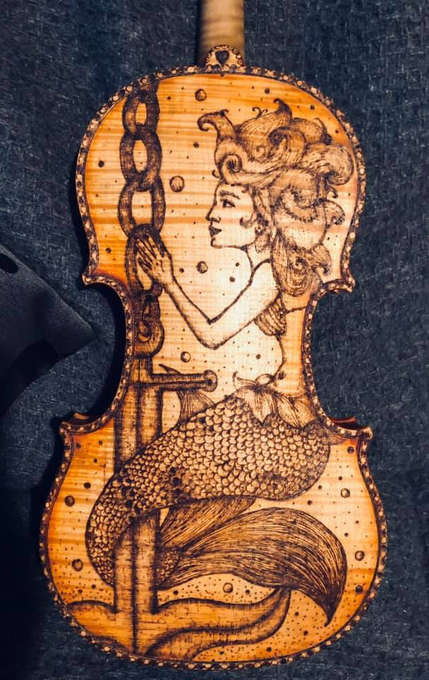 pyrographed violin - mermaid motive